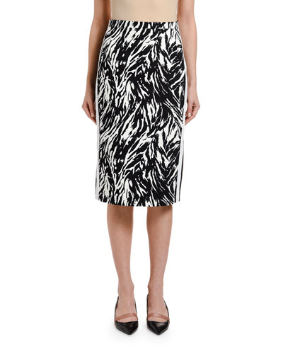 Zebra-Print Pencil Skirt