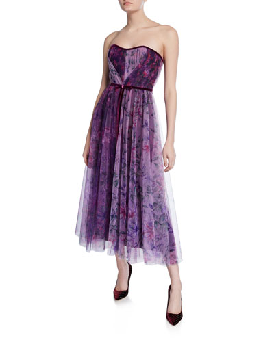 Floral Colorblock Strapless Sweetheart Tea-Length Tulle Dress