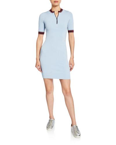 Loren Zip-Front Short-Sleeve Ribbed Dress