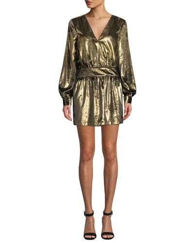 Metallic Velvet Long-Sleeve V-Neck Mini Dress