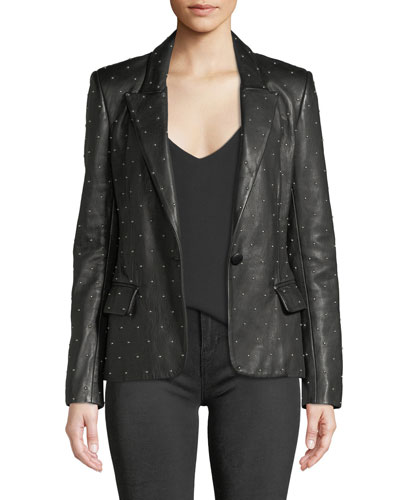 Montego Studded Leather Blazer