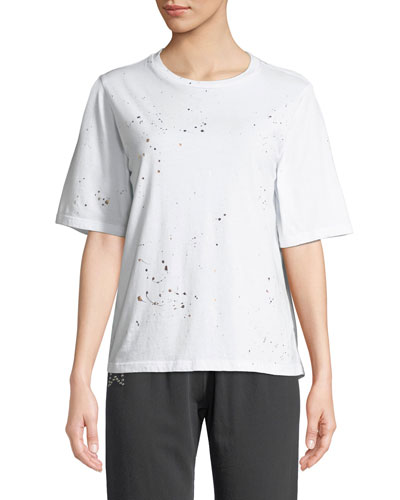 Oversized Crewneck Tee with Foil Splatter