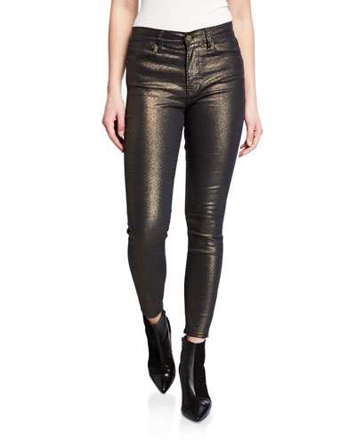Le High Metallic Ankle Skinny Jeans