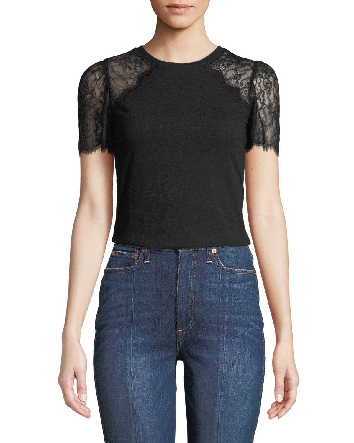 Rebecca Taylor Tops LACE-SLEEVE CREWNECK JERSEY TEE