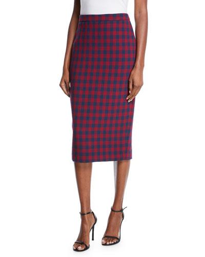 abcc53704f6 Thea Plaid Midi-Length Pencil Skirt