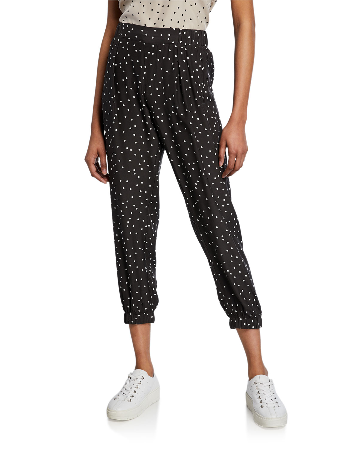 Atm Anthony Thomas Melillo Pants POLKA-DOT SILK CROPPED PANTS