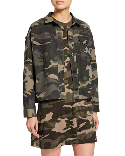 Camo Button-Front Cropped Boxy Cotton Twill Jacket