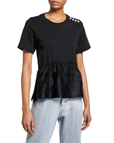 Crewneck Short-Sleeve T-Shirt w/ Pearlescent Shoulder Detail