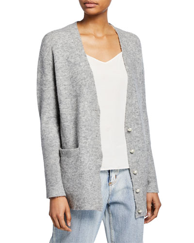 Lofty Button-Front Welt-Pocket Cardigan w/ Pearlescent Details