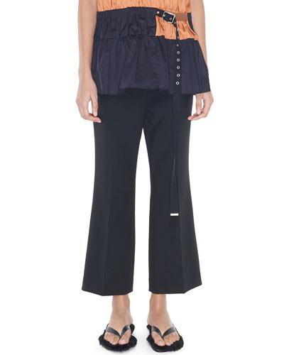Cropped Mid-Rise Boot-Cut Pants