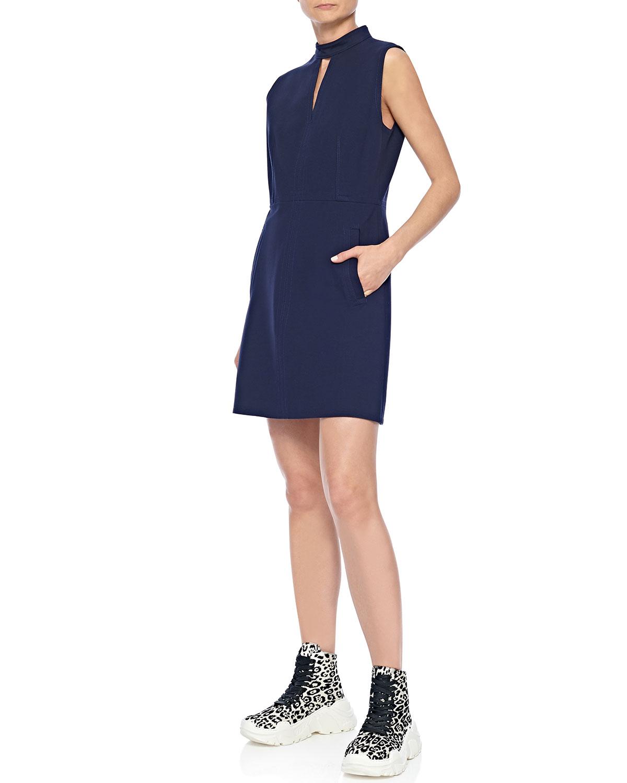 Tibi Dresses MOCK-NECK SLEEVELESS A-LINE MINI DRESS WITH POCKETS