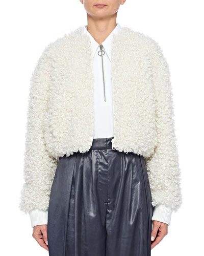 Cropped Faux-Fur Bomber Jacket