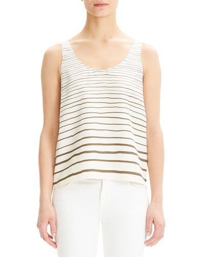 Striped Scoop-Neck Silk Tank Top