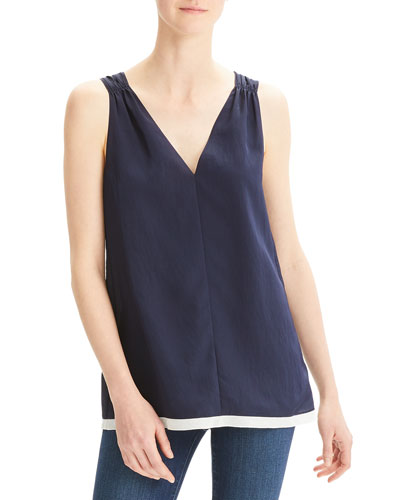 V-Neck Smocked Sleeveless Top