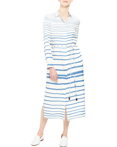 Striped Button-Front Long-Sleeve Belted Shirtdress