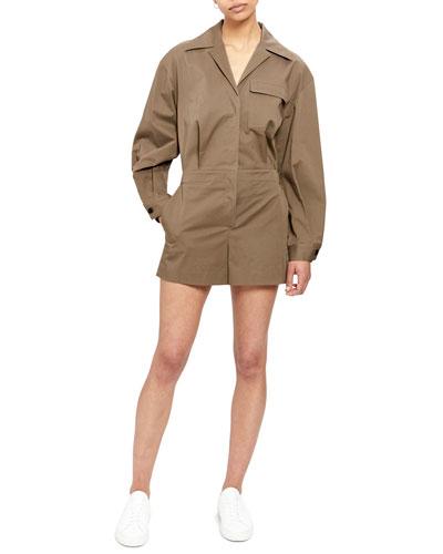 Button-Front Long-Sleeve Short Jumpsuit