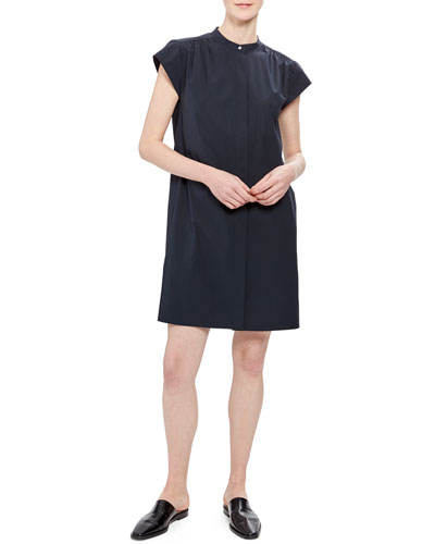 Short-Sleeve Shirred Yoke Core Shirting Dress