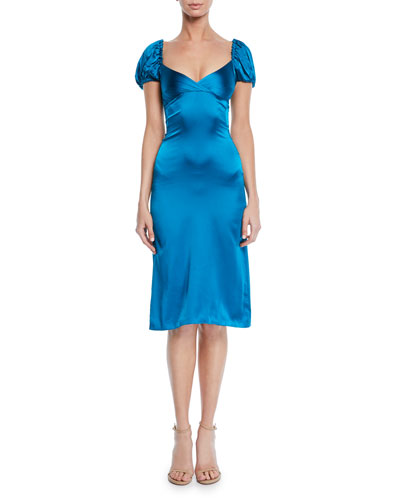 Cadiz Sweetheart Puff-Sleeve Silk Satin Dress