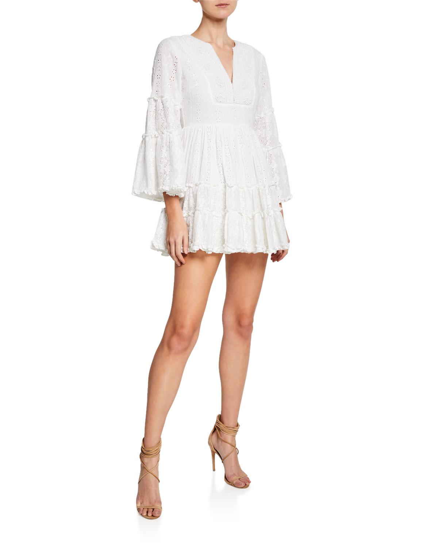 Alexis Dresses Norwa V-Neck Tiered Eyelet & Lace Mini Dress, WHITE