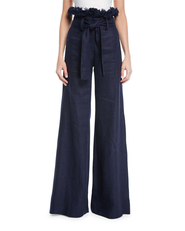 Alexis Pants SWEENEY LINEN WIDE-LEG FRAYED PANTS