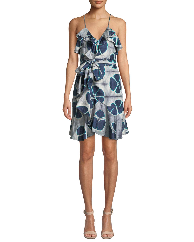 Alexis Dresses KALANI SILK PATTERNED FLOUNCE SELF-TIE DRESS