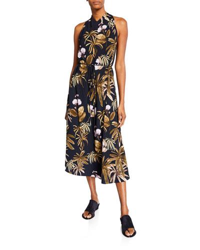 Mixed Tropical Garden Halter Dress