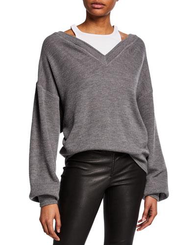 Bi-Layer V-Neck Sweater with Tank