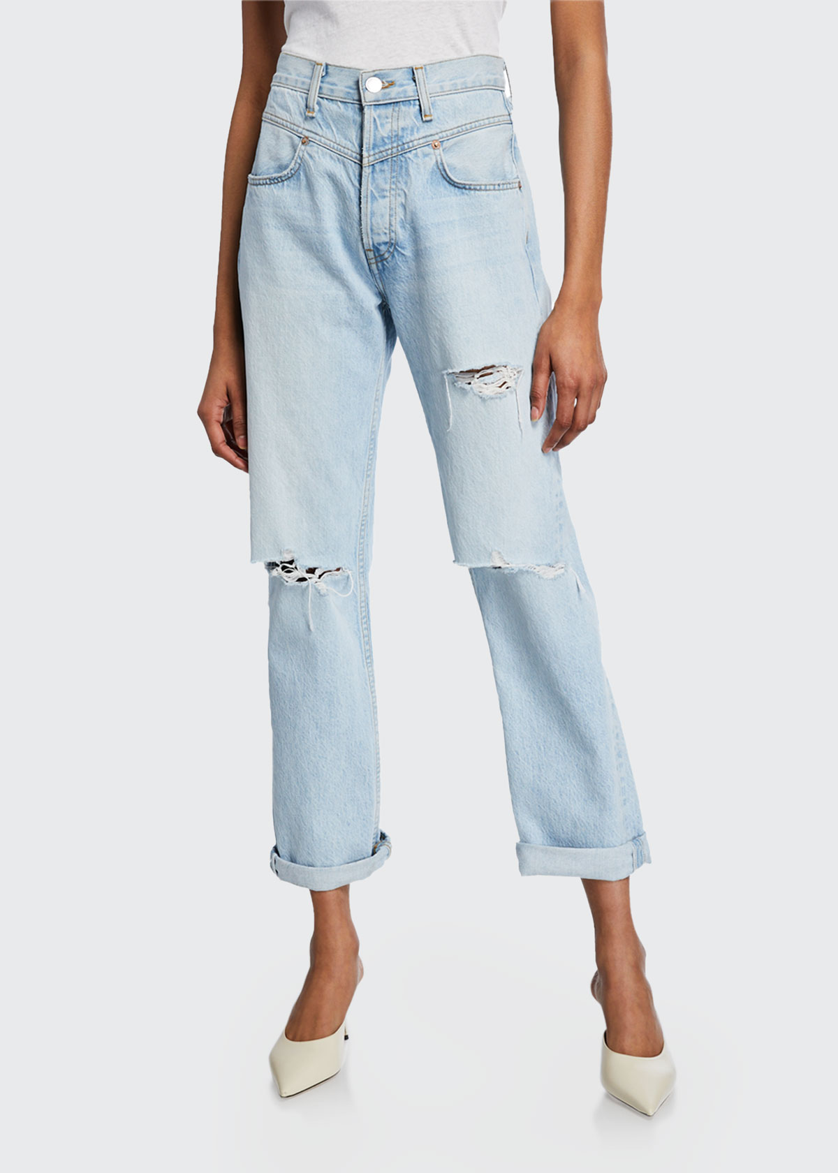 Re/done Jeans THE 90S DOUBLE-YOKE DISTRESSED JEANS