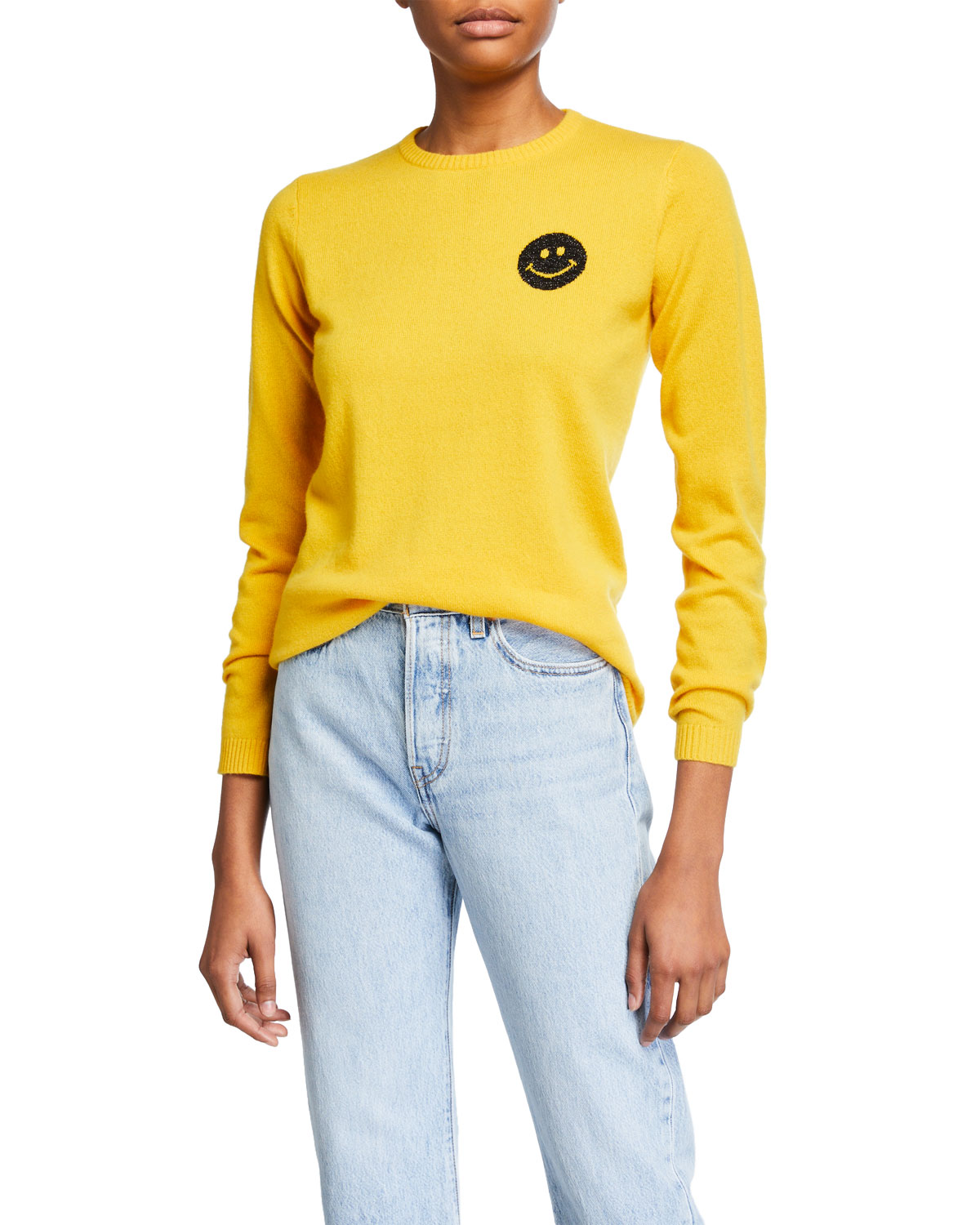 Bella Freud Sweaters HAPPY SMILEY FACE CASHMERE SWEATER