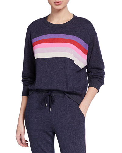 Striped Crewneck Crop Sweatshirt