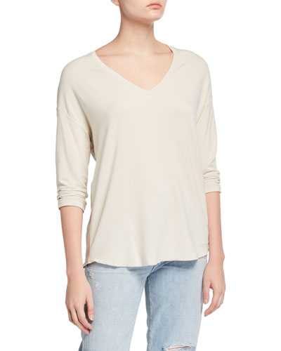 French-Terry V-Neck 3/4-Sleeve Drop-Shoulder Top