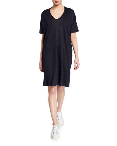 V-Neck Drop-Shoulder Oversized Linen Dress