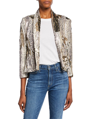 Morrisons Sequined Snake-Print Jacket