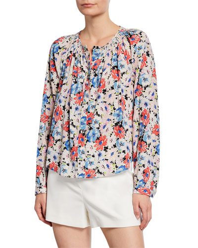 Madge Button-Front Floral Blouse