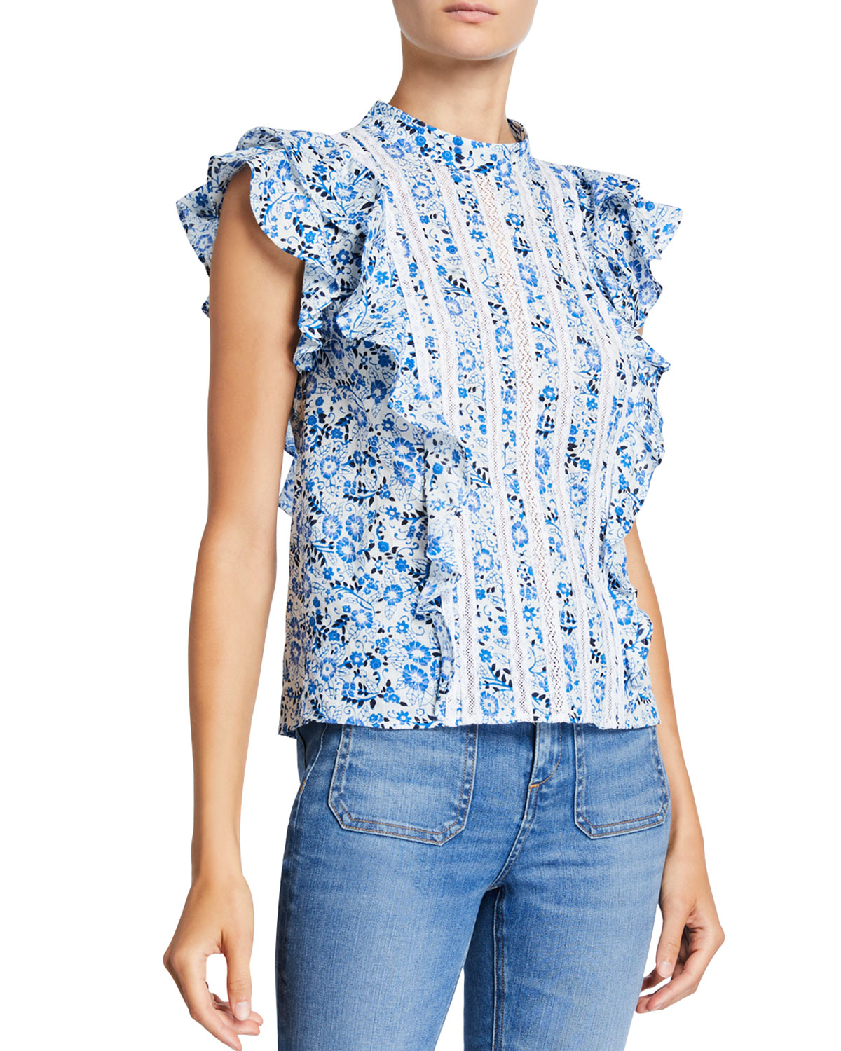 Veronica Beard Tops SOL PRINTED LACE RUFFLE TOP