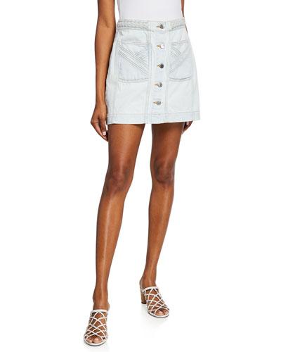 Aron Exposed-Button Braided Mini Skirt