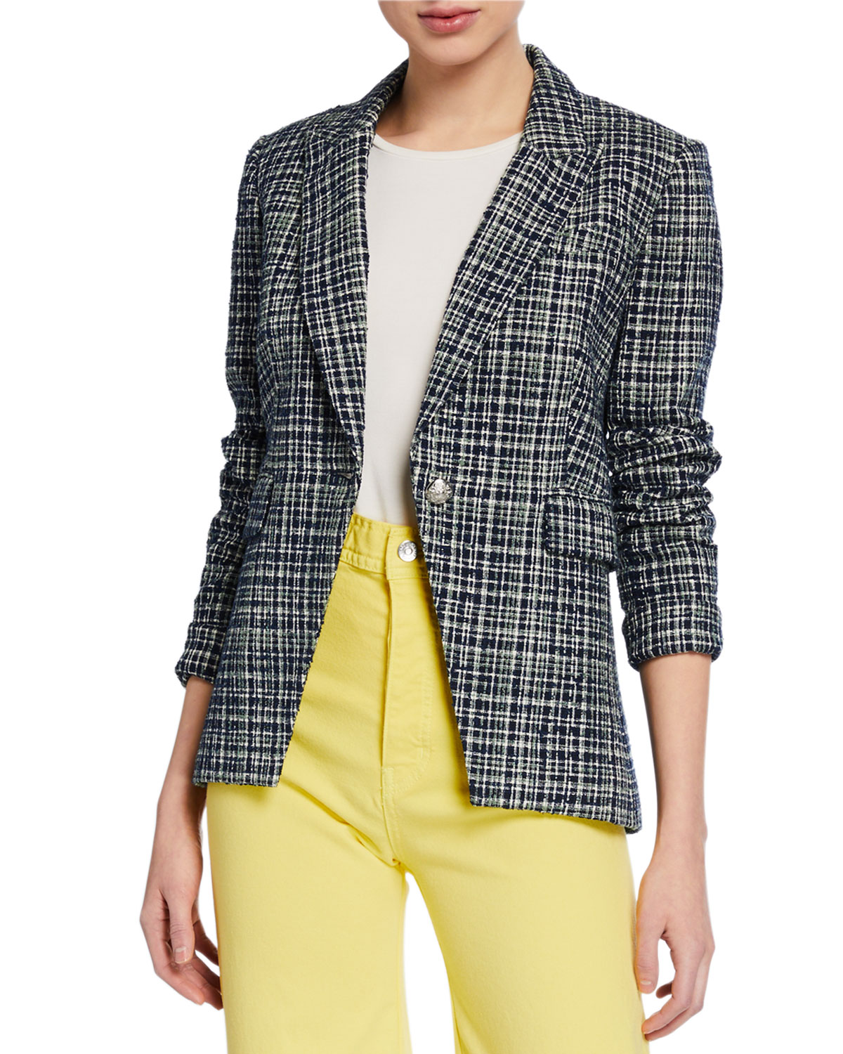 Veronica Beard Jackets CROSSHATCH ONE-BUTTON CUTAWAY JACKET