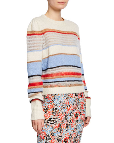 Meredith Striped Wool-Blend Pullover Sweater