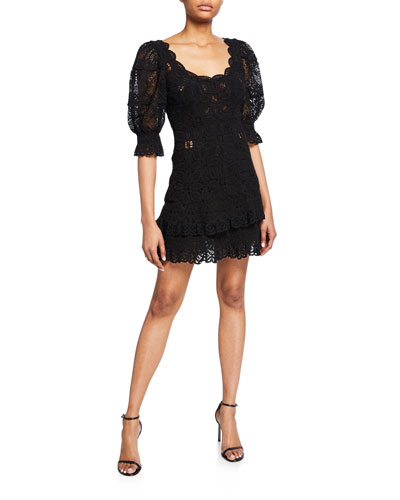 Scoop-Neck Puff-Sleeve Crochet Lace Ruffle Mini Dress