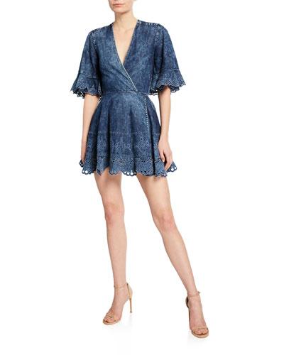Denim Fit-&-Flare Cutout Dress