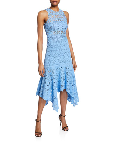 Crochet Lace High-Neck Handkerchief Dress