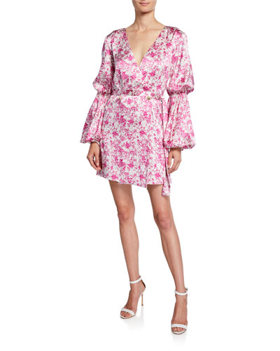 Doria Silk Puff-Sleeve Mini Dress