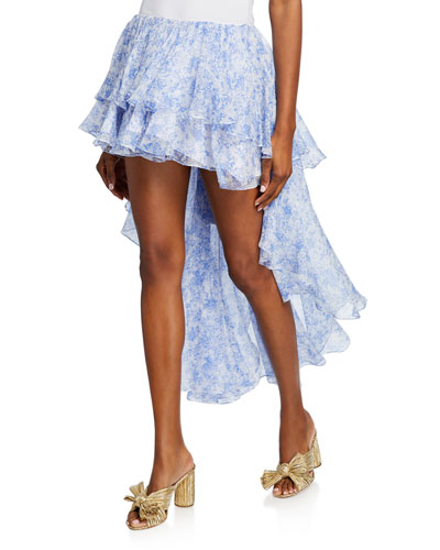 Gulia Tiered High-Low Ruffle Skirt