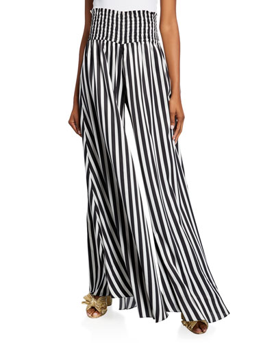 Smocked Wide-Leg Striped Pants