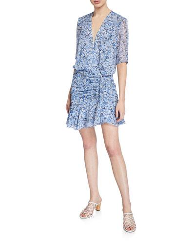 Dakota Gathered Floral-Print Flounce Dress