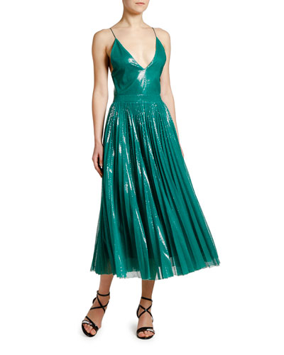 6d73eee6e16 Shimmery V-Neck Pleated Cami Dress