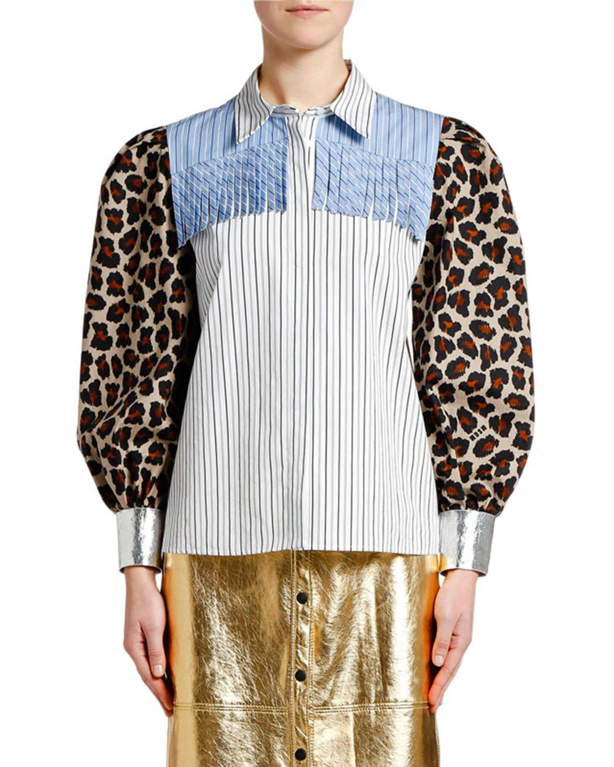 Msgm Cottons PRINTED PUFF-SLEEVE FRINGE BLOUSE