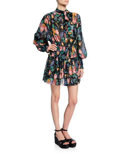 a64969f87b6 Allia Floral-Print Tie-Neck Bishop-Sleeve Shirred Mini Dress Quick Look.  Zimmermann