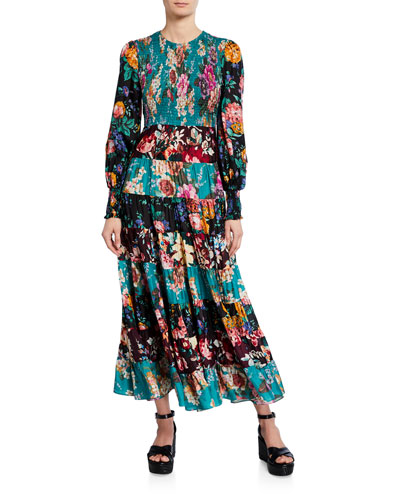 Allia Tiered Long-Sleeve Maxi Dress