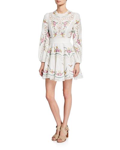 Allia Cross-Stitch Long-Sleeve Dress